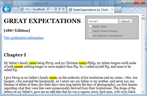 Screen shot of Great Expectations with highlighting