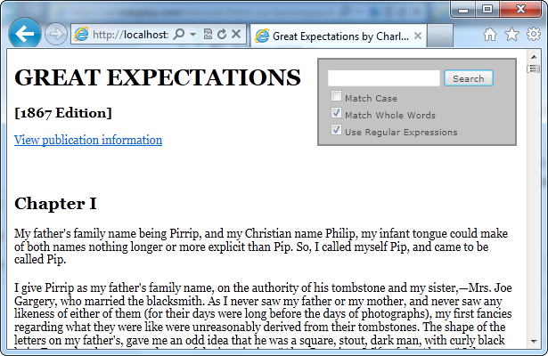 Screen shot of Great Expectations without highlight