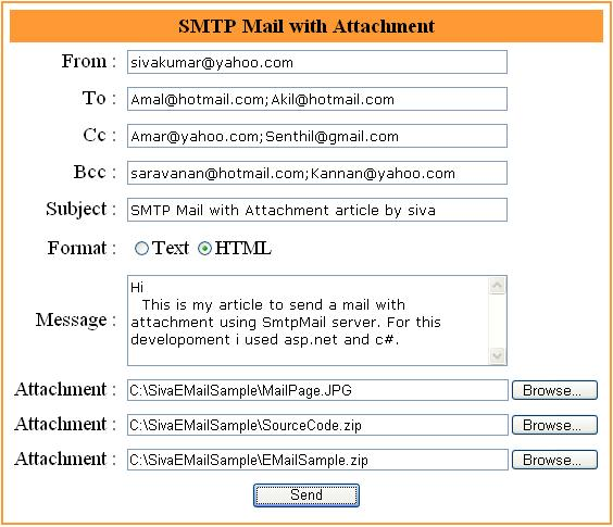 Sending Email with attachment in ASP.NET using SMTP Server