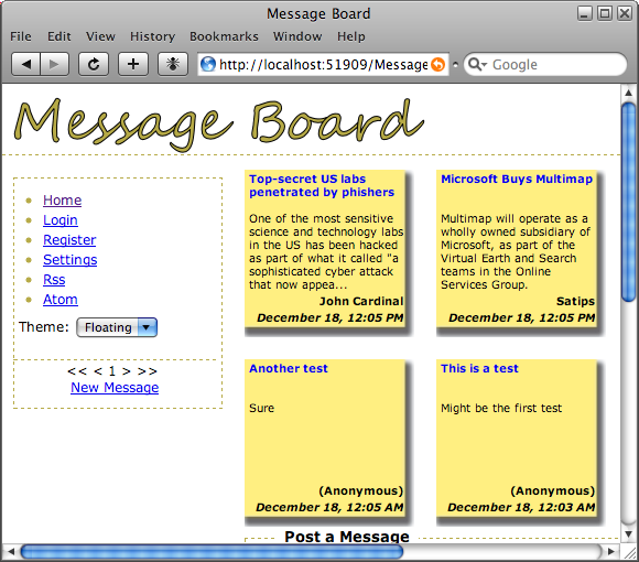 Message Board in Safari