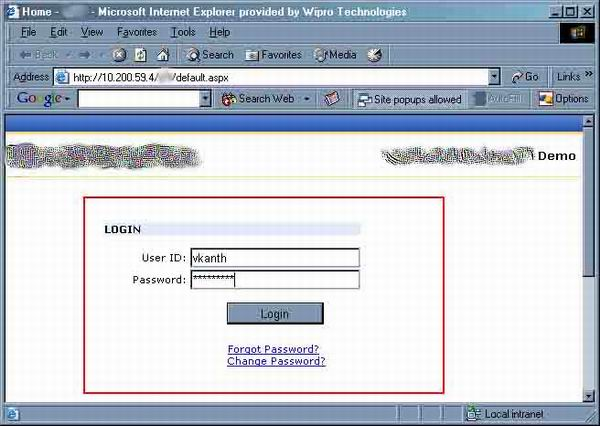 A typical Login screen running at a Sharepoint Site