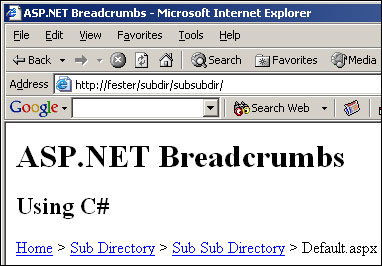 Breadcrumbs with file name appended