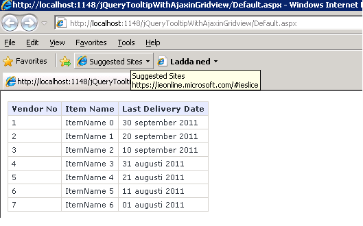 jQuery tooltip with Ajax tooltip datasource with gridview