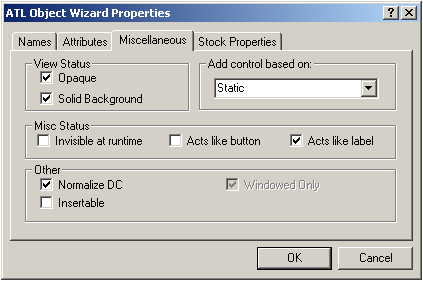 ATL Object Wizard Properties (Miscellaneous)