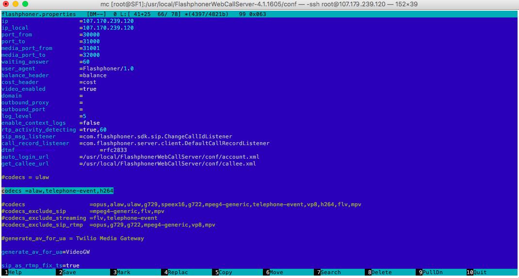 Web Call Server 4 configuration file