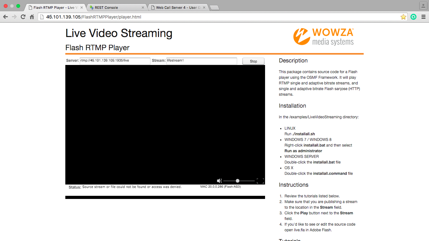 Resulting broadcasting in Flash Player