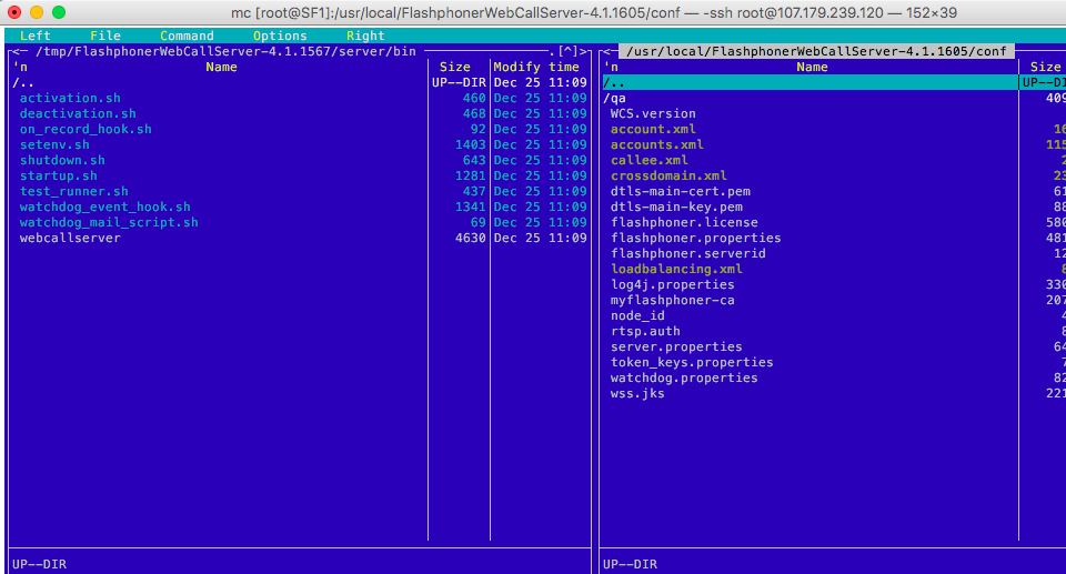 Folder with the Web Call Server 4 configuration file