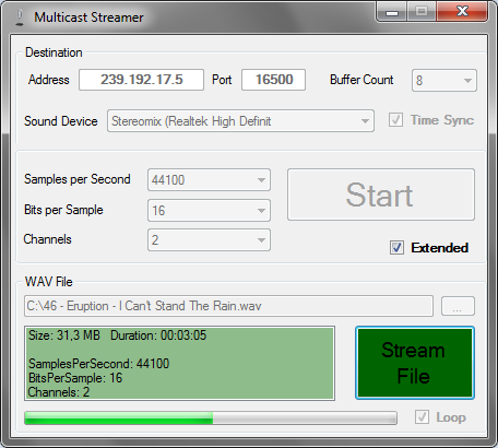 Play or Capture Audio Sound  Send and Receive as Multicast (RTP