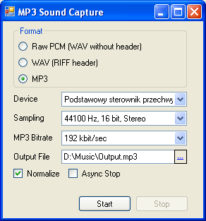 Mp3 Capture Sample Application
