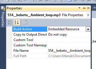 Selecting the correct build action for .NET assembly resources.
