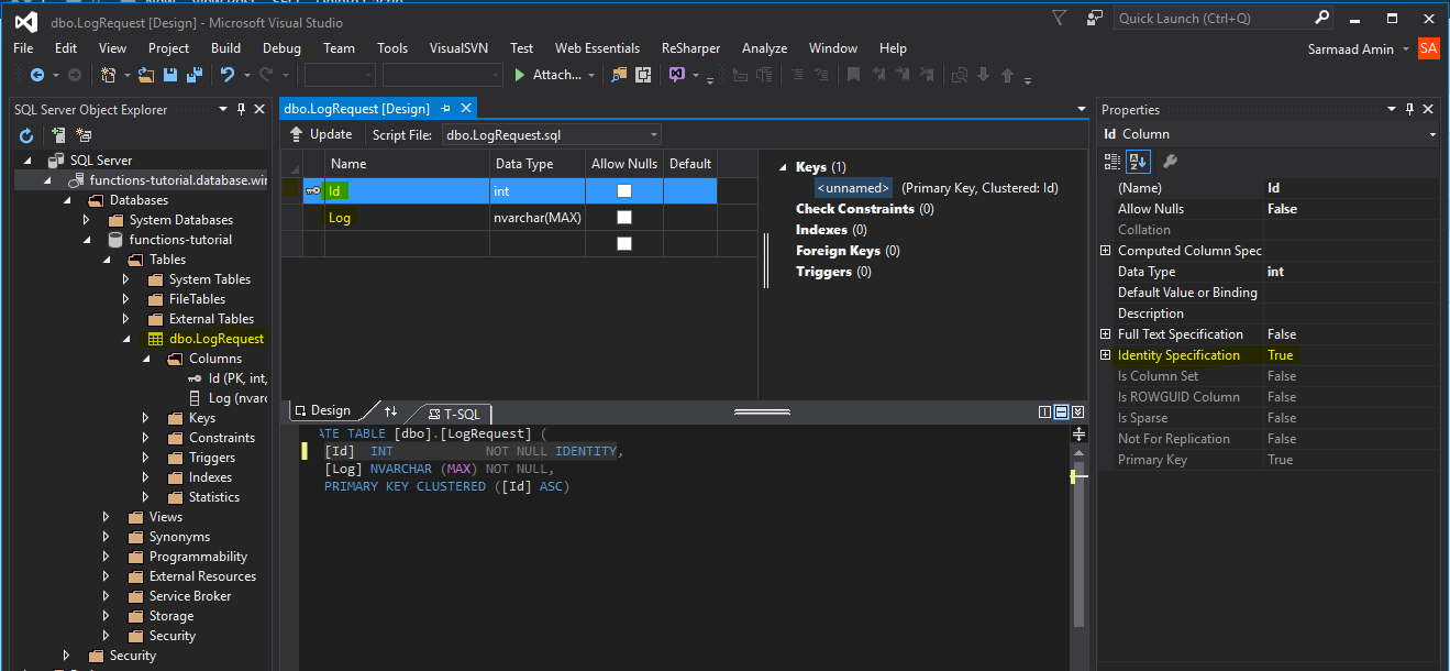 Azure functions tutorial sql database codeproject sql database with table baditri Image collections