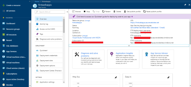 Azure Web App: Create, Connect and Deploy using FTP