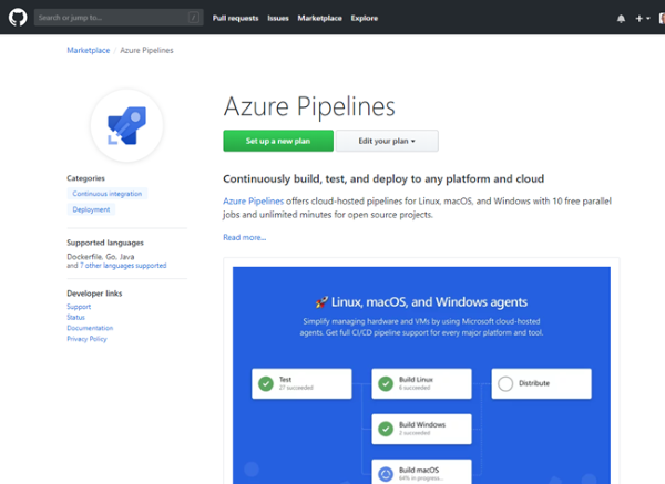 Find the Azure Pipelines application in the GitHub Marketplace