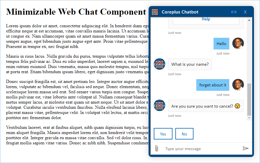 Minimizable Web Chat Component