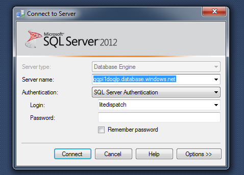 Azure SQL Connection Details