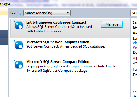 Required NuGet packages to get EF to work with SQL-CE