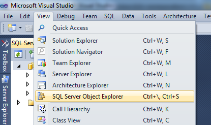 Visual Studio SQL Menu