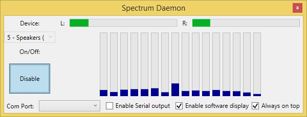 Making an Audio Spectrum analyzer with Bass dll, C# and
