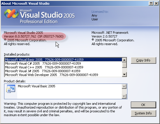 Install visual studio 2005 sp1 on windows vista.