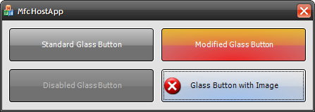 MFC application which hosts four glass buttons.