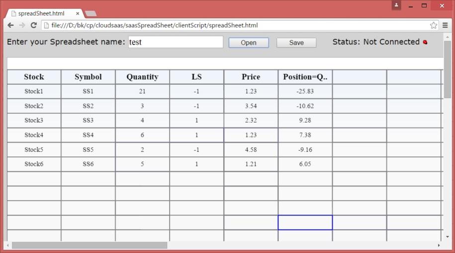 Online Spreadsheet, a low latency html5 websocket Cloud