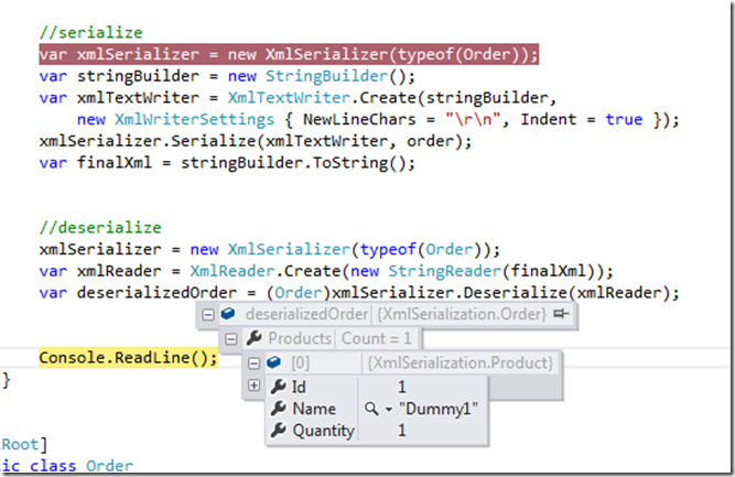 A final example of the xml serialization program example using vb.
