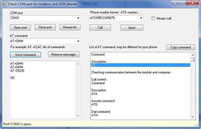 Check Modem or GSM Phone by AT Commands - CodeProject
