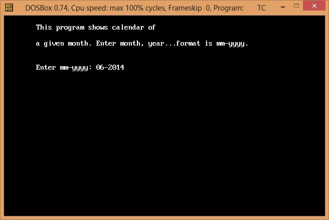 Calendar Using C Programming Language Codeproject