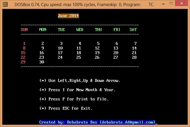 Calendar using C Programming language - CodeProject