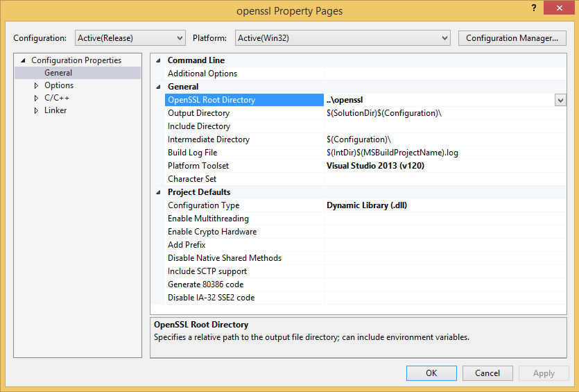 Building and configuring OpenSSL in Visual Studio (MSBuild