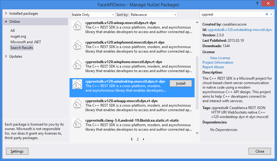 Integrate Windows Azure Face APIs in a C++ application