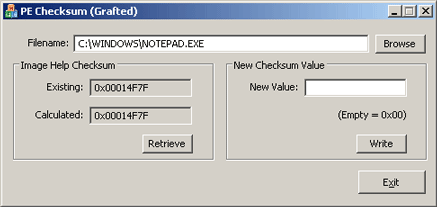 Altered PE Checksum using Grafted Code