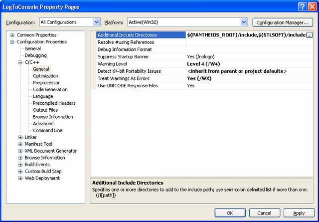 Setting the project's INCLUDE directories