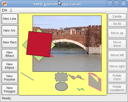 Writing a XAML application with geometry objects (shapes) for X11