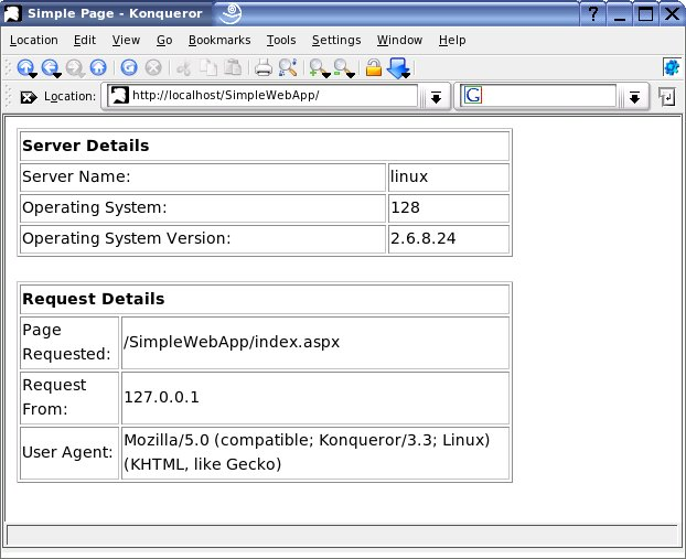 The SimplePage.aspx file displaying the server and request             details.
