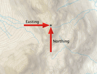 Map showing Easting and Northing Coordinates