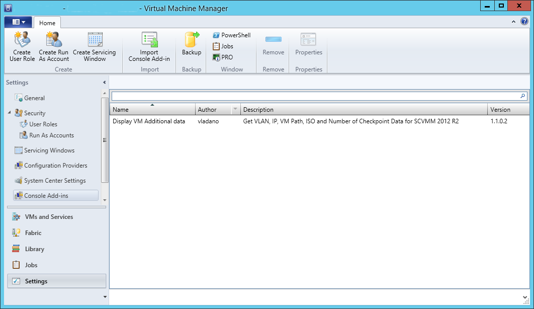 Add-In for System Center Virtual Machine Manager 2012 R2 Console