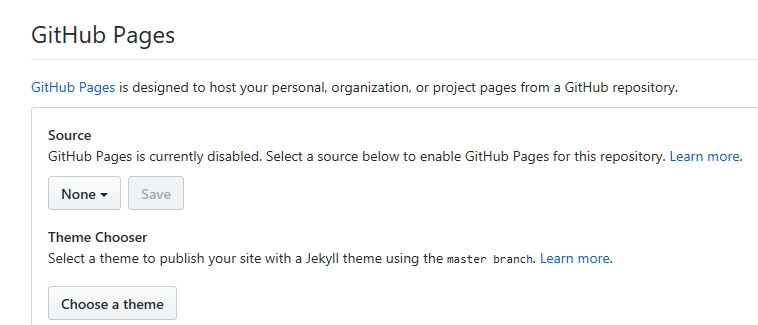 Figure 2: Default GitHub Pages settings