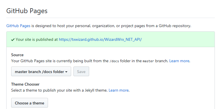 Figure 3: GitHub Pages enabled, without themes
