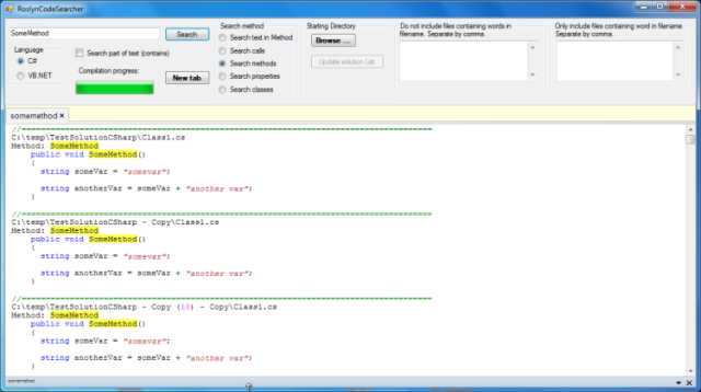 C# and VB NET Code Searcher - Using Roslyn - CodeProject