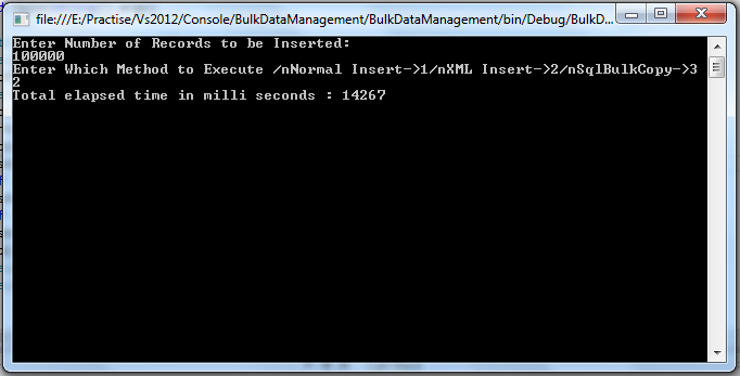 Bulk Data Management With XML 100000 Records