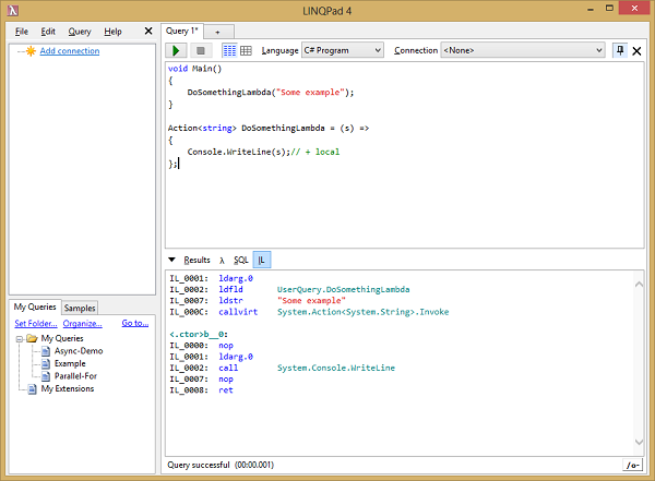 LINQPad in action