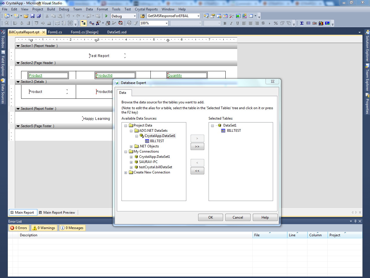 Bind Crystal Reports with Dataset or Datatable - CodeProject