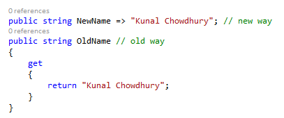 What's new in C# 6.0? - Expression-bodied function (www.kunal-chowdhury.com)