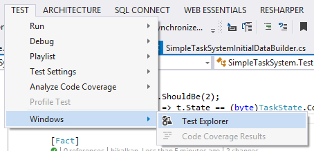 Open Visual Studio Test Explorer