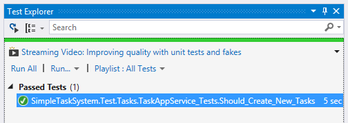 Running first unit test using Visual Studio Test Explorer