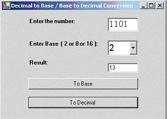 Conversion of Decimal to any Base (Binary, Octal or Hexa) and vice