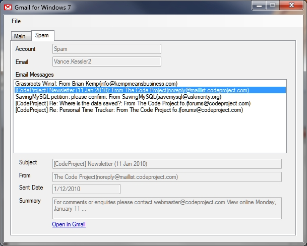 Gmail for Windows 7 - CodeProject