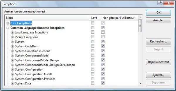 Exceptions configuration
