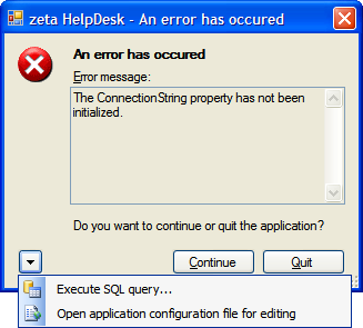 Executing a SQL query from within Zeta Helpdesk